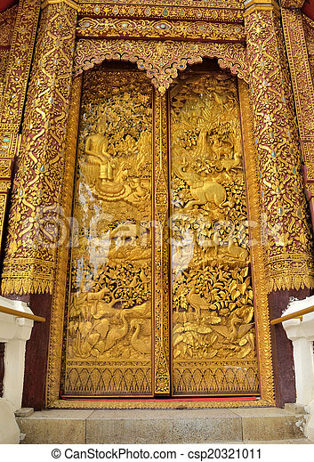 Temple and door gold. thai thailand decoration wall frame gate