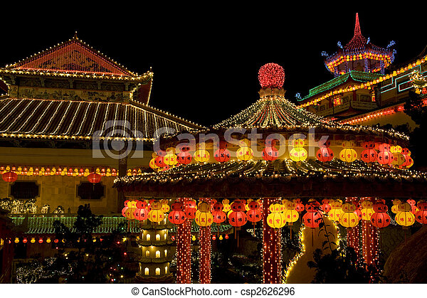 Temple Lighted Up for Chinese New Year  - csp2626296