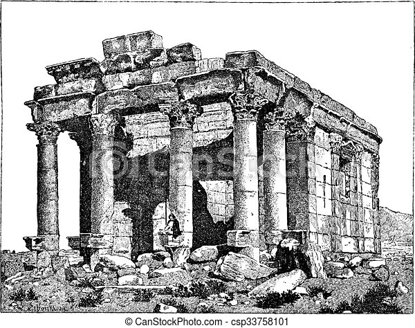 Temple of Diocletian, Palmyra, Syria, vintage engraving. - csp33758101