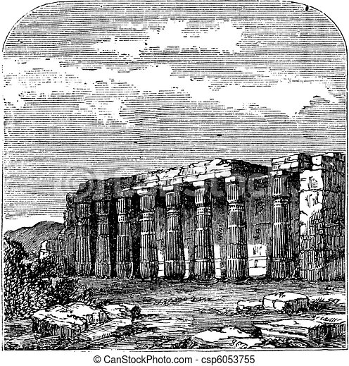 Temple of Luxor (or Quorenth) ruins, in Thebes, Egypt. Vintage engraving. - csp6053755