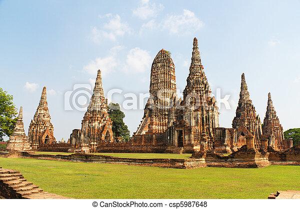 Temple Ruins of Wat Chai Wattanaram at the Unesco World Heritage Site of Ayuthaya in Thailand - csp5987648