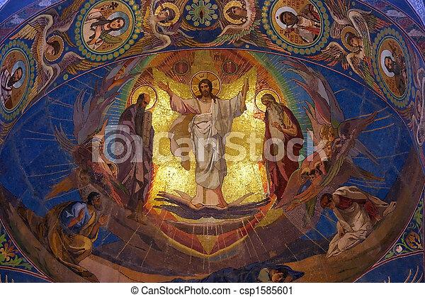temple, saint, christ, orthodoxe, mosaïque, sauveur, église, russie, jésus, petersburg - csp1585601