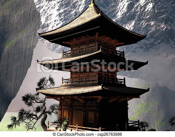 montanhas templo budista chinês