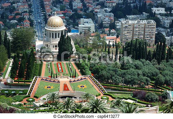 Jardines del templo Bahai, Haifa, Israel - csp6413277