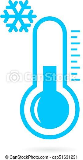 Tempo Frio Termometro Icone Tempo Gelado Vetorial Termometro Icone Canstock Termómetros para refrigeração e congelação. tempo frio termometro icone