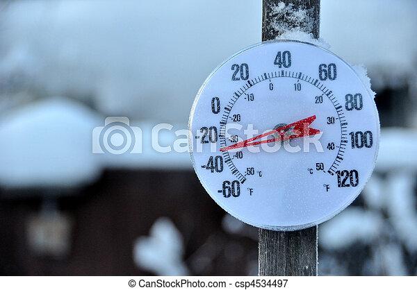 tempo frio, termômetro - csp4534497