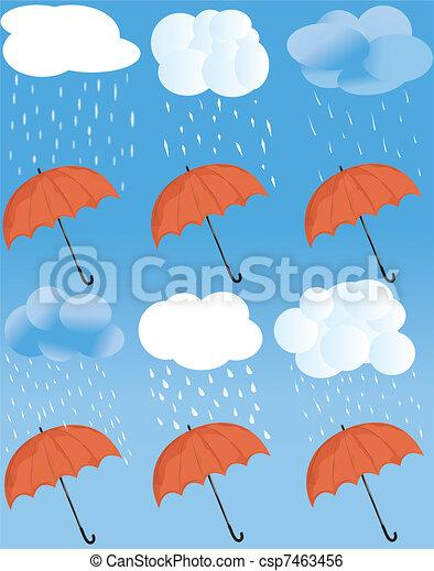 tempo, ombrello, icona - csp7463456
