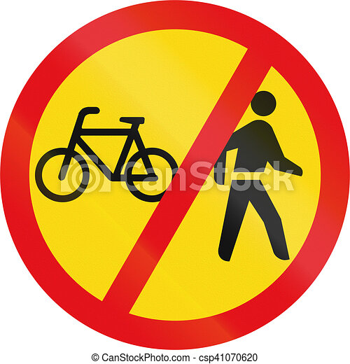 Temporary road sign used in the African country of Botswana - Cyclists and pedestrians prohibited - csp41070620