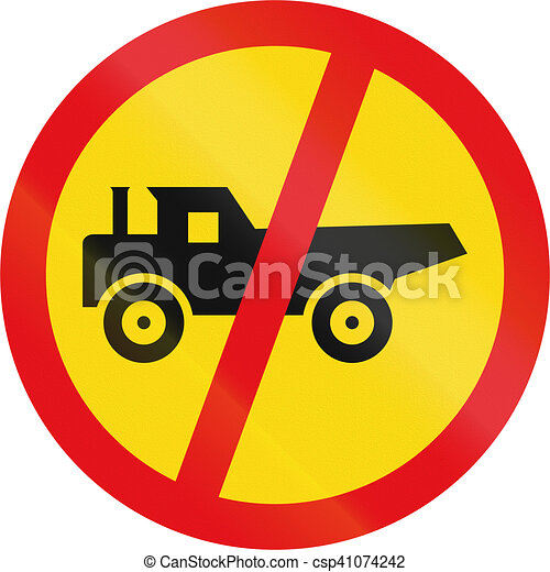 Temporary road sign used in the African country of Botswana - Construction vehicles prohibited - csp41074242