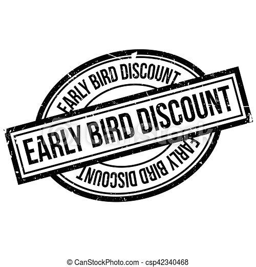 Un sello de goma con descuento de pájaro temprano - csp42340468