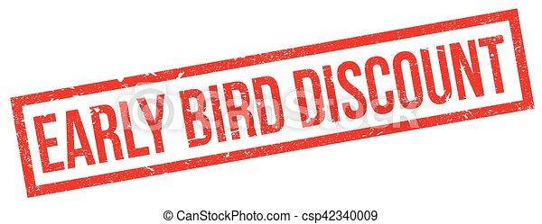 Un sello de goma con descuento de pájaro temprano - csp42340009