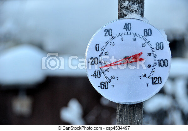 temps froid, thermomètre - csp4534497