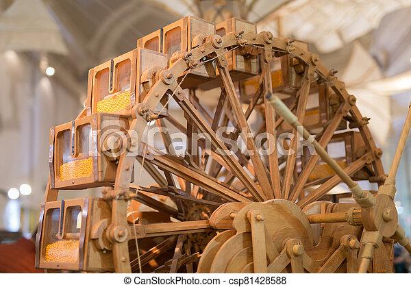 temps, leonardo, vinci, ingénieux, bois, da, machine - csp81428588