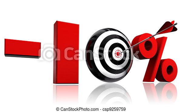 ten per cent red discount symbol  - csp9259759