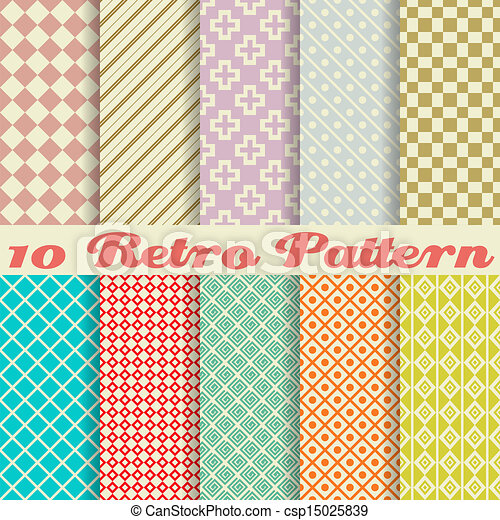 Ten retro different vector seamless patterns (tiling) - csp15025839