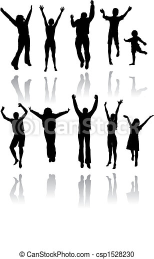 Ten silhouettes of people jumping - csp1528230