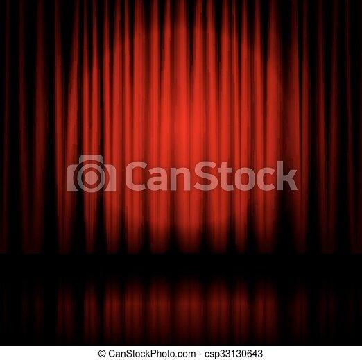 tenda, riflettore, palcoscenico - csp33130643