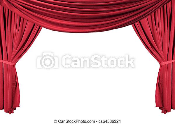 tenda, teatro, serie, drappeggiato, 1, rosso - csp4586324