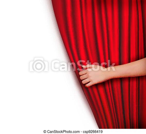 tenda, velluto, fondo, rosso - csp9266419