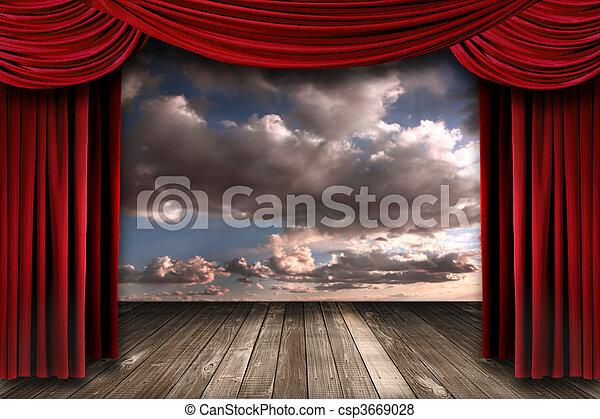 tenda, velluto, interno, teatro, perormance, rosso, palcoscenico - csp3669028