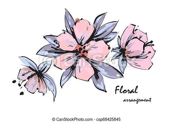 Tender floral arrangement. Pink apple tree flowers. Vector romantic garden flowers. - csp68425845