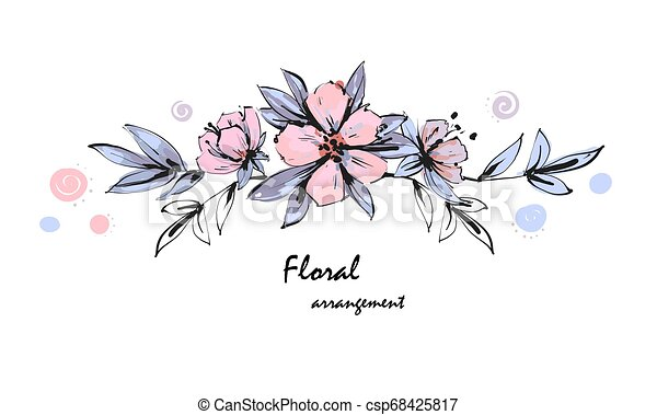 Tender floral arrangement. Pink apple tree flowers with leaves. Vector romantic garden flowers. - csp68425817