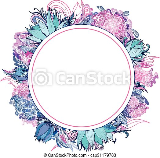 Tender Pink And Blue Vector Floral Frame Card Template With Lotus