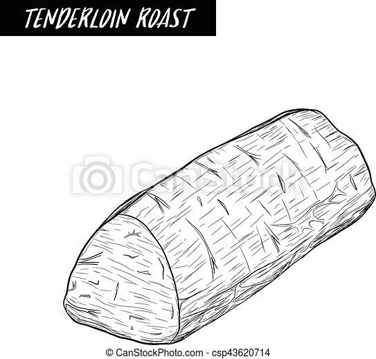 tenderloin roast sketch by hand drawing. - csp43620714
