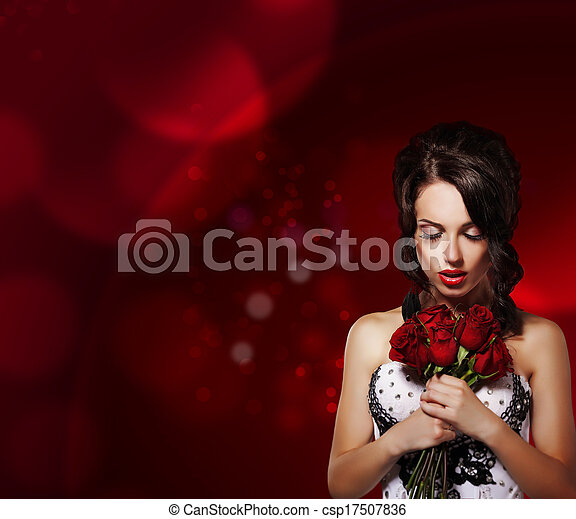 Tenderness. Dreamy Woman with Bouquet of Flowers over Purple Background - csp17507836