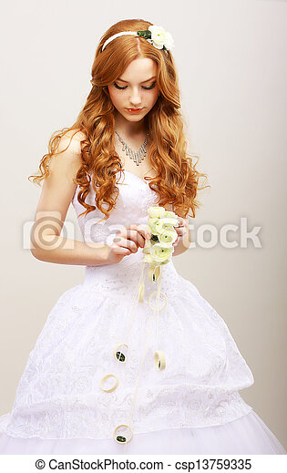 Tenderness & Romance. Red Hair Bride with Fresh Flowers in Reverie. Wedding Style - csp13759335