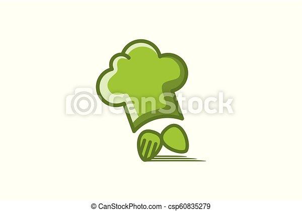 Sombrero de chef, cuchara y tenedor rápido logotipo de entrega - csp60835279