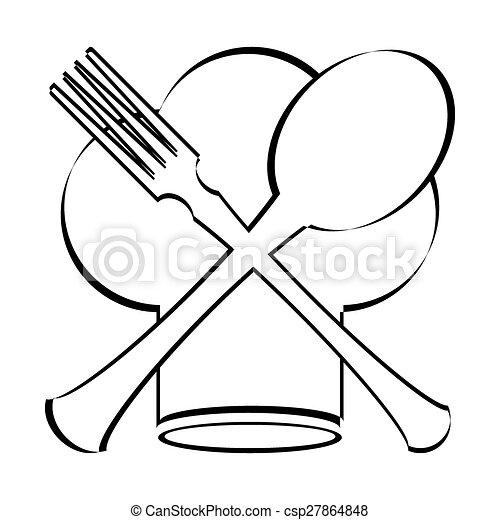 Sombrero de chef con cuchara, tenedor y cuchillo - csp27864848