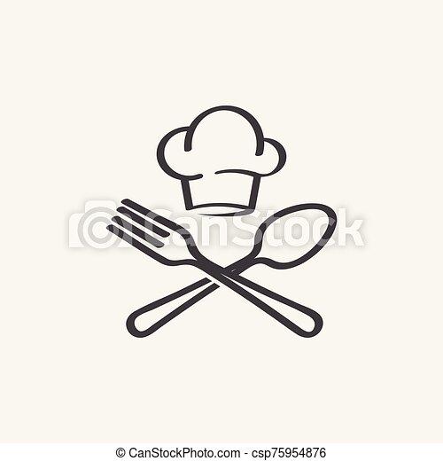 tenedor, chef sombrero, vector, cuchara - csp75954876