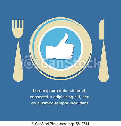 Pulgares arriba icono con placa, tenedor y cuchillo. Como la comida - csp15810744