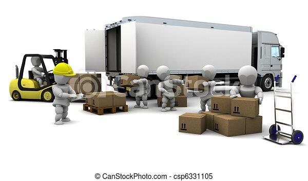 Un hombre conduciendo un camión de elevadores aislado en blanco - csp6331105
