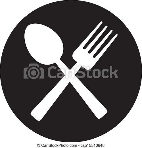 Tenedor cruzado y cuchara - csp15510648