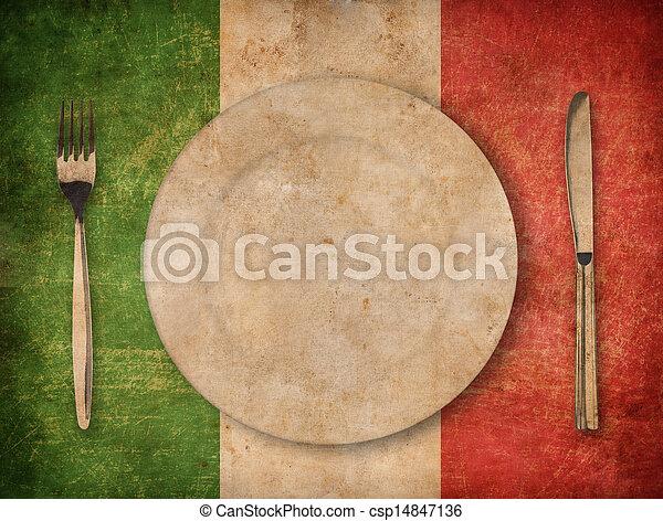 Plata, tenedor y cuchillo en bandera italiana grunge - csp14847136