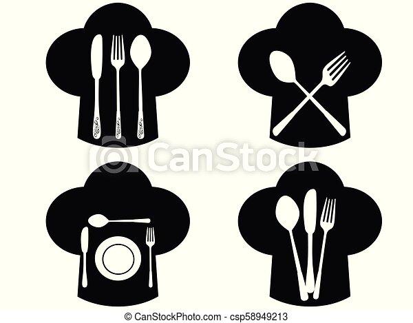 Sombrero de chef con tenedor, iconos de cuchillo y cuchara - csp58949213