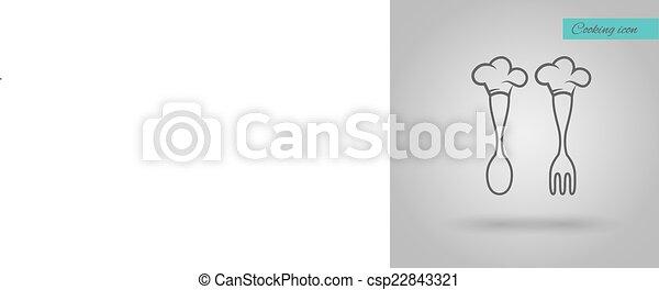 Sombrero de Chef en cuchara e ilustración vectorial del tenedor - csp22843321