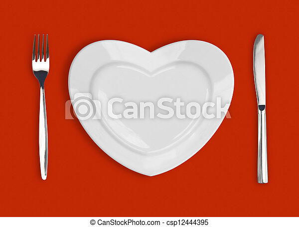 tenedor, placa, corazón, forma, cuchillo, plano de fondo, tabla, rojo - csp12444395