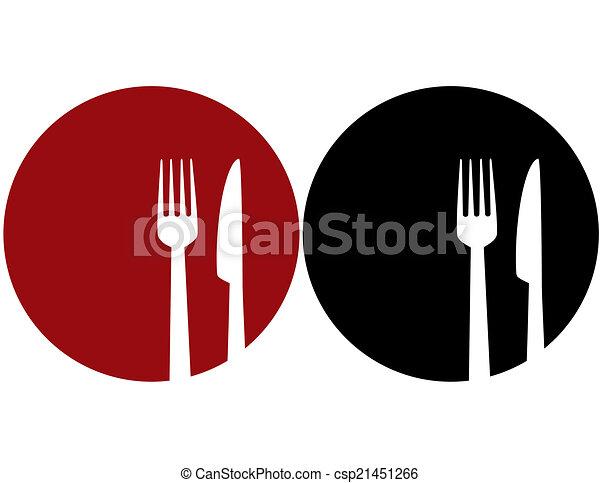 Plata con tenedor y cuchillo - csp21451266