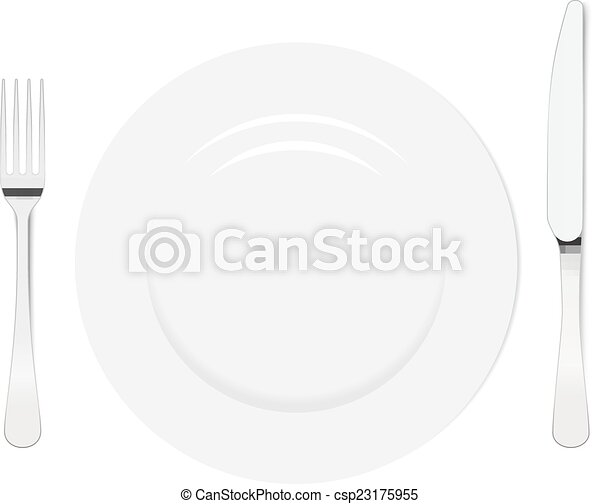 Placa vacía con cuchillo y tenedor - csp23175955