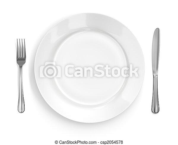 Lugar con plato, cuchillo y tenedor - csp2054578