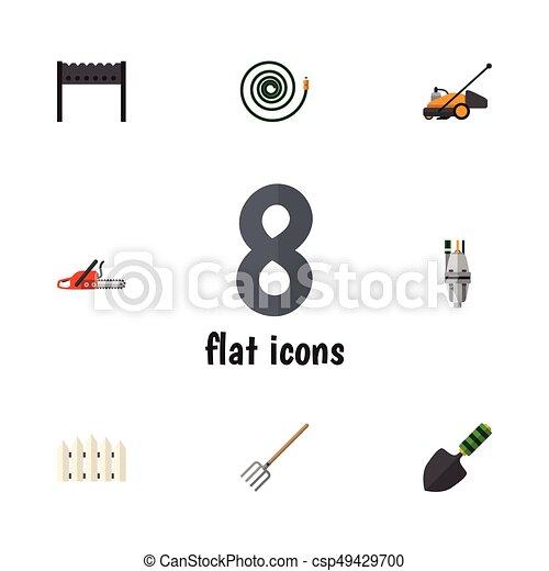 Icon dacha plana de barbacoa, tenedor de heno, manguera y otros objetos vectoriales. También incluye madera, manguera, elementos de tenedor. - csp49429700