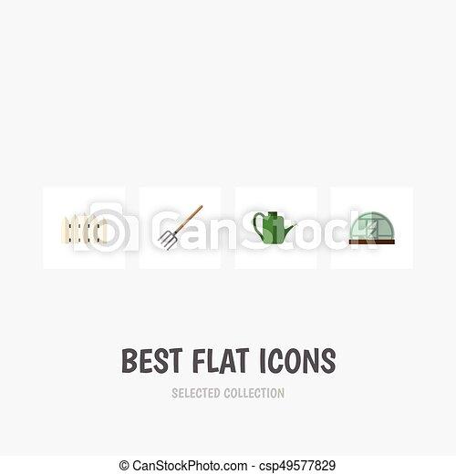 El icono plano dacha conjunto de tenedor de heno, Baileyr, barrera de madera y otros objetos vectoriales. También incluye Greenhouse, puede Baileyr, elementos tenedor. - csp49577829