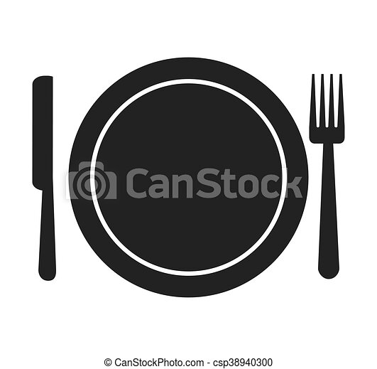 Tenedor silueta cubiertos plato icono de cuchillo for Plato tenedor y cuchillo