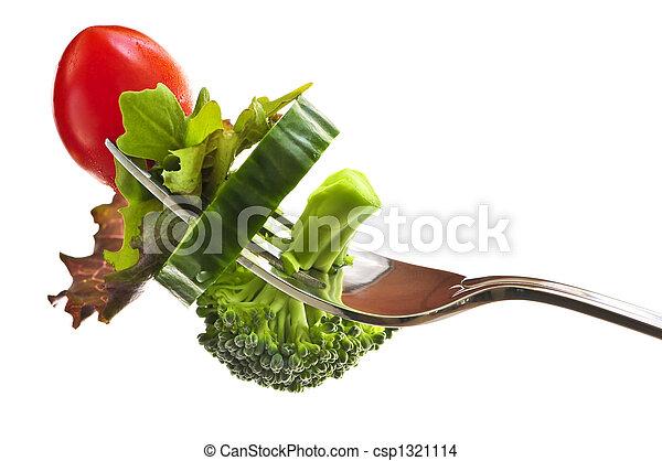 tenedor, verduras frescas - csp1321114