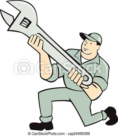 Mecánico de rodillas sosteniendo dibujos de llave inglesa - csp24495089