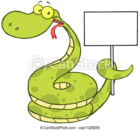 Serpiente sosteniendo una señal en blanco - csp11328255
