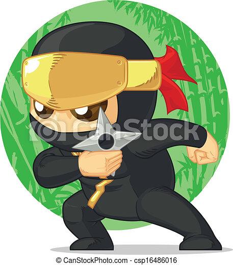 Cartoon de ninjas sosteniendo shuriken - csp16486016